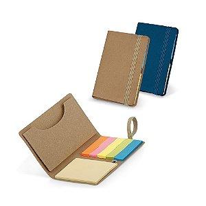Bloco de anotações em cartão reciclável   com  6 blocos adesivados