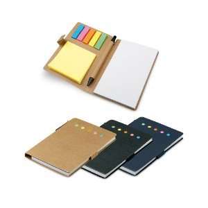 Bloco de anotações em papel craft  com 6 conjuntos: 25 folhas cada.