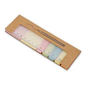 Bloco de anotações de mesa  em Cartão reciclado com 7 conjuntos adesivados: