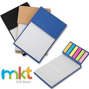 Bloco de anotações com capa dura, sticky notes com 25 folhas