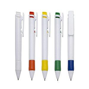 Caneta plástica inteira branca com detalhes emborrachado e clip colorido