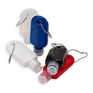 Frasco porta álcool gel de 40ml com chaveiro mosquetão