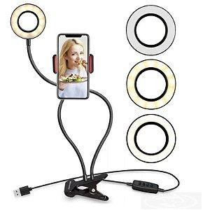 Anel Led Ring ligth blogueira suporte celular videos redes sociais e fotos