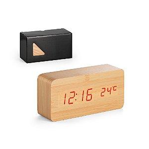 Relógio digital de mesa com termômetro caixa em Mdf
