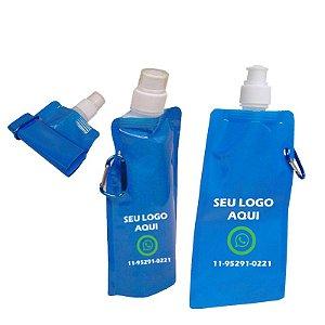 Squeeze 480 ml flexível e dobrável com chaveiro mosquetão