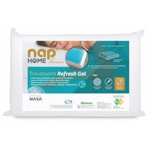 Travesseiro Nasa Refresh Gel Nap 48x68x14cm Premium Capa Impermeável