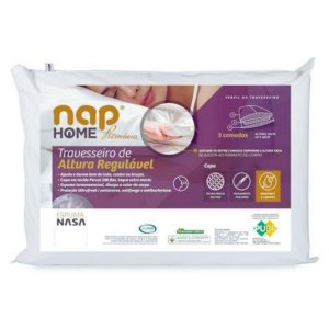 Travesseiro Nasa Nap Impermeável Altura Regulável 48x68x16cm
