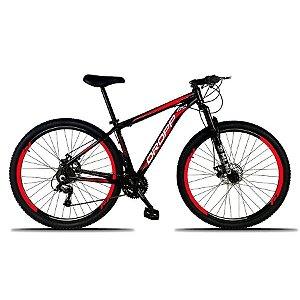 Bicicleta Aro 29 Freio a Disco Mecânico Quadro 19 Alumínio 21 Marchas Preto Vermelho - Dropp