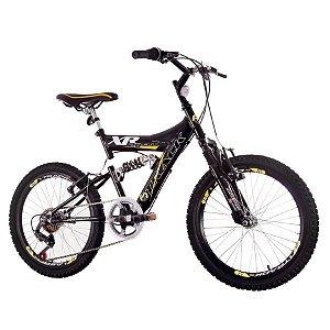 Bicicleta Track Bikes XR20 PA, Aro 20, 6 Marchas, V-Brake, Quadro Aço Carbono