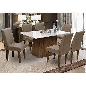 Conjunto de Mesa para Sala de Jantar com 6 Cadeira Florença Fit - Dobue