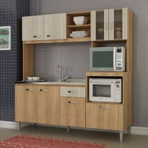 Cozinha Compacta sem Pia e Tampo 8 Portas 1 Gaveta Tati Fellicci