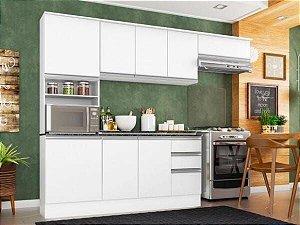 Cozinha Completa Poliman Móveis Paris Branca- com Balcão Nicho para Forno ou Micro-ondas