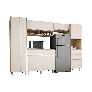 Cozinha Completa San Diego com armários e balcões 8 portas 4 gavetas Nature Off White