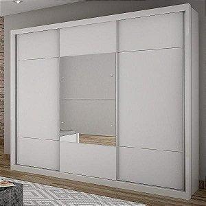 Guarda Roupa Casal com Espelho 3 Portas de Correr Elegance Novo Horizonte Branco