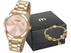 Relógio Feminino Mondaine Analógico - 99400LPMKDE2K1 Dourado com Acessório