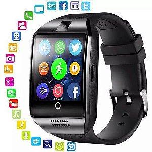 Smartwatch Q18 Curvo Relógio Inteligente Bluetooth Com Chip Preto