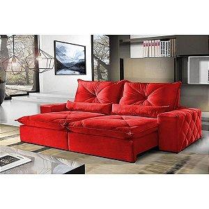 Sofá 4 Lugares Retrátil e Reclinável 2,50 mts Fusion Suede Vermelho - Outlet Sofás E Colchões