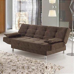 Sofá-cama Glamour Viero Marrom Suede - Viero Móveis
