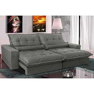 Sofa Retrátil e Reclinável com Molas Ensacadas Cama inBox Soft 2,32 Mts Tecido Suede