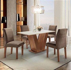 Conjunto Sala de Jantar Mesa Tampo MDF 4 Cadeiras Espanha Espresso Móveis Chocolate/Suede Marrom