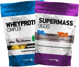 Combo Ganho de Massa I: Whey Protein Complex 908g + Hipercalórico Super Mass 908g
