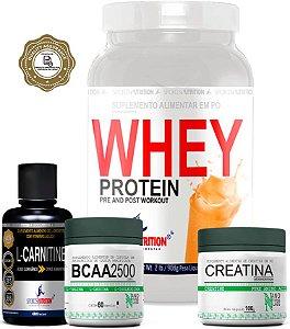 Combo Definição: Whey Protein Concentrado 908g + L-Carnitina + Creatina 100g + Bcaa 2500 60 Cápsulas
