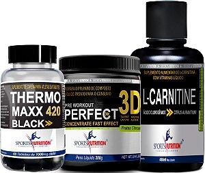 Combo Energia e Desempenho I: Thermo Black Maxx 420 + L-Carnitina 480ml + Pré Treino Perfect 3d