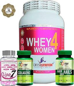Combo Whey Protein Feminina 4 Women 908g + Bcaa 2500 + Colágeno + Coqueteleira