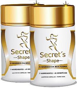 Secret's Shape - Emagrecimento saudável - 100% natural com Quitosana, Picolinato de Cromo + 5 elementos para perda de peso. 60 cápsulas de 700mg cada.