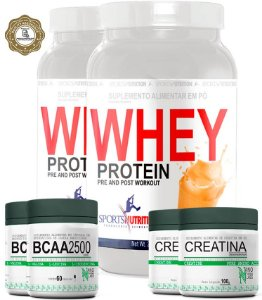 Combo Definição: 2 Whey Protein Concentrado - 908g + 2 BCAA 2500 - 60 Cápsulas + 2 Creatina - 100g
