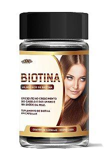 Suplemento de Biotina 45,000mcg - Fortalecimento e crescimento dos cabelos e unhas, melhora a saúde da pele - SN Premium - 60 Cápsulas