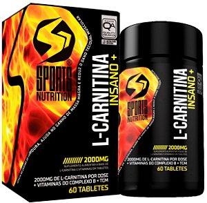 L-carnitina Insano+ 2000mg com Vitaminas Do Complexo B e Tcm - Queimador de Gordura- 60 Tabletes