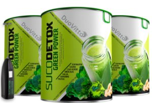 Kit composto por 3 unidades do Green Power+ Suco Detox Altamente Nutritivo E Natural + Mixer Portátil