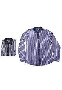 3750001-Camisa Mg Longa Jeans/Tricoline