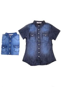 3750023-Camisa Mg Curta Jeans