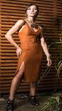 6750009-Vestido Fenda c/ Cinto Malha