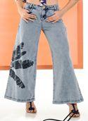 6750028-Calça Jeans Pantalona Jeans