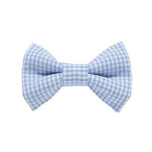 Gravata borboleta xadrez picnic azul bebê