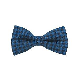 Gravata borboleta xadrez azul