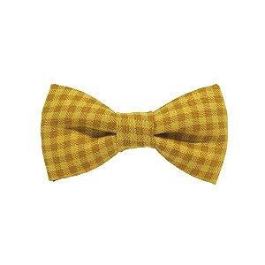Gravata borboleta xadrez amarelo