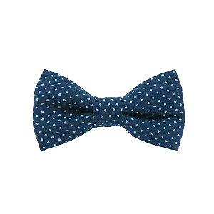 Gravata borboleta mini pois azul