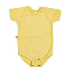 Body manga curta extensível amarelo