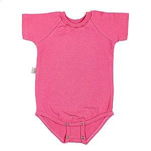 Body manga curta extensível rosa