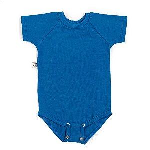 Body manga curta extensível azul