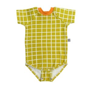 Body manga curta extensível grid mostarda