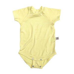 Body manga curta modal amarelo