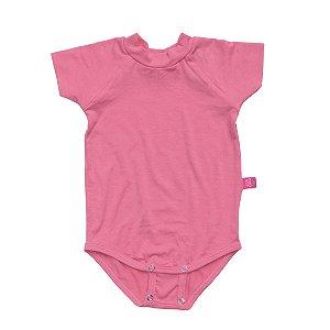 Body manga curta modal rosa