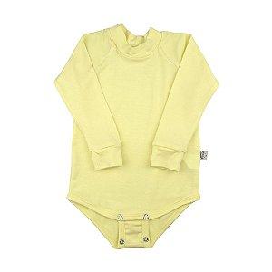 Body manga longa modal amarelo