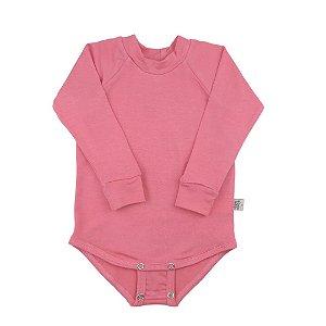 Body manga longa modal rosa