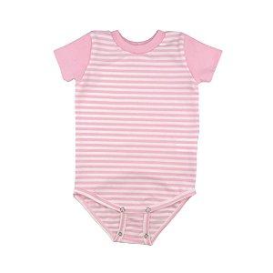 Body manga curta listrado rosa